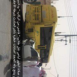 بالصور حادث تصادم لباص نقل طلاب وداتسون بالشارع العام بالأجفر