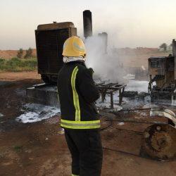 بالصور مدني الأجفر يخمد حريق بمشروع السنبلة