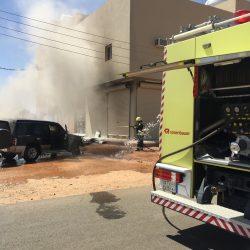 بالصور حريق سيارة بالأجفر