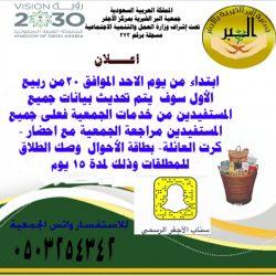 جمعية البر بالأجفر تدعو مستفيديها لتحديث بياناتهم